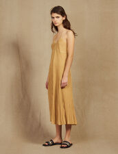 Long Dress In Pleated Lurex Knit : null color Gold