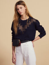 Sweater With Lace Inset : null color Navy Blue