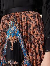 Long printed skirt with pleats : LastChance-ES-F50 color Multi-Color
