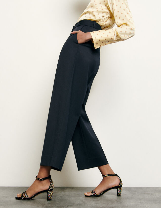 Tailored wool trousers : Summer Collection color Navy Blue