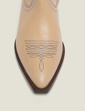 Embroidered Leather Cowboy Boots : null color Sand