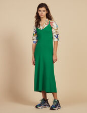 Long Knitted Dress With Straps : null color Green