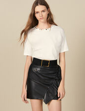 Short Leather Skirt With Ruffle : FBlackFriday-FR-FSelection-30 color Black