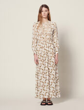 Long Dress With Butterflies Print : null color Ecru