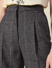 Wide-leg checked trousers : LastChance-ES-F50 color Grey
