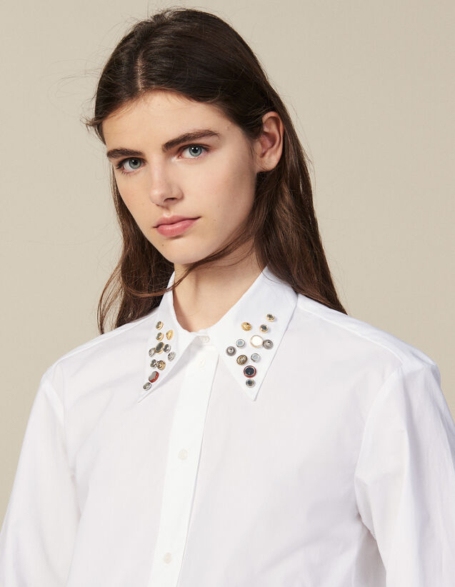 Asymmetric shirt trimmed with studs : All Selection color white