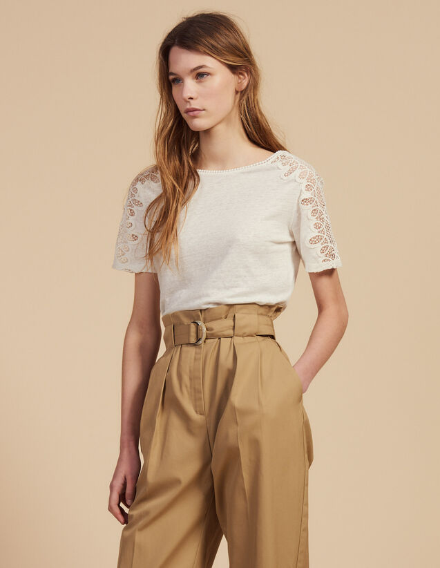 Linen T-Shirt With Lace Trim : T-shirts color Ecru