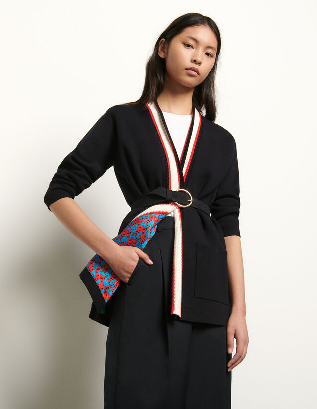 Cardigan with printed lining : Sweaters & Cardigans color Black