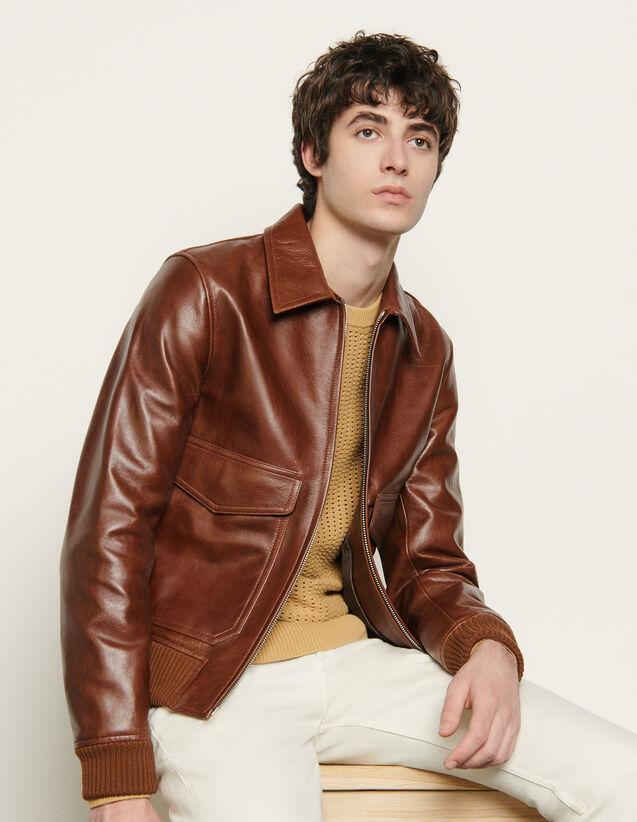 Leather jacket : Blazers & Jackets color Brown