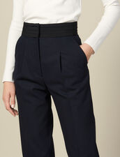 Straight-leg trousers with cummerbund : LastChance-ES-F50 color Navy Blue