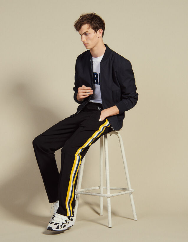 Jersey Jogging Bottoms With Striped Trim : Pants & Shorts color Black