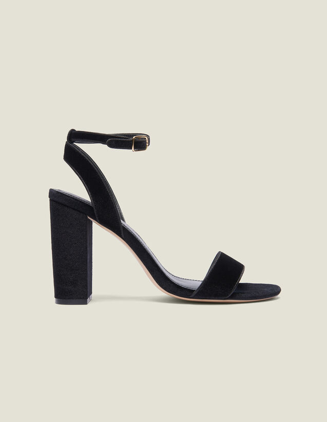 Block-Heeled Velvet Sandals : Summer Collection color Black