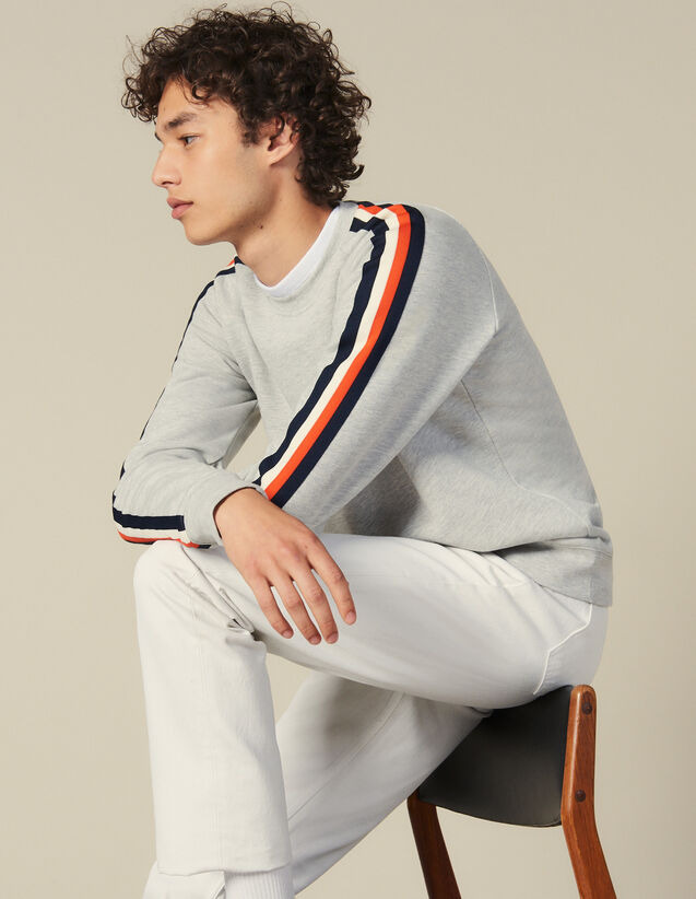 Sweatshirt With Stripes On The Sleeves : All Winter collection color Mocked Grey