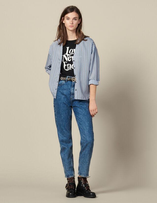 Striped poplin blouse : FBlackFriday-FR-FSelection-50 color Blue sky