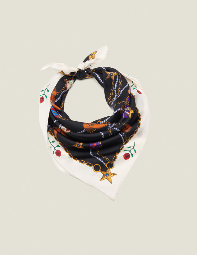 Silk Cowboy Boot Print Scarf : Scarves color Black