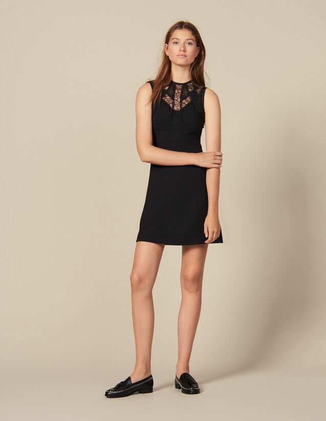 Dress with lace inserts : Dresses color Black