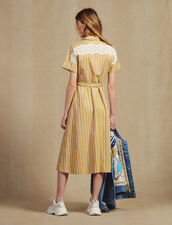 Striped Short-Sleeved Shirt Dress : null color Beige