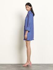 Long-sleeved short printed dress : Dresses color Blue
