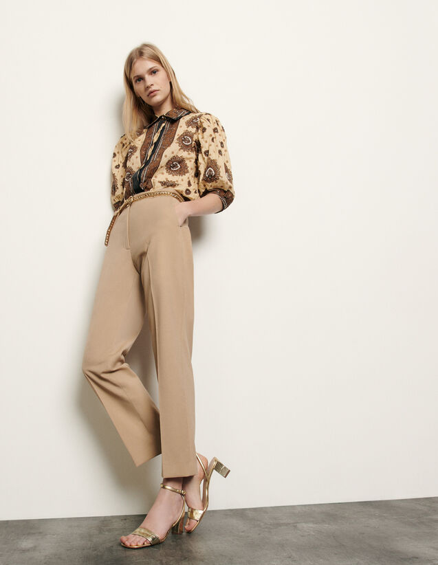 Straight-cut tailored trousers : Pants color Beige