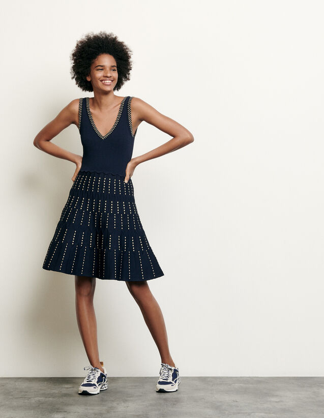 Knitted dress with lurex details : Summer Collection color Navy Blue
