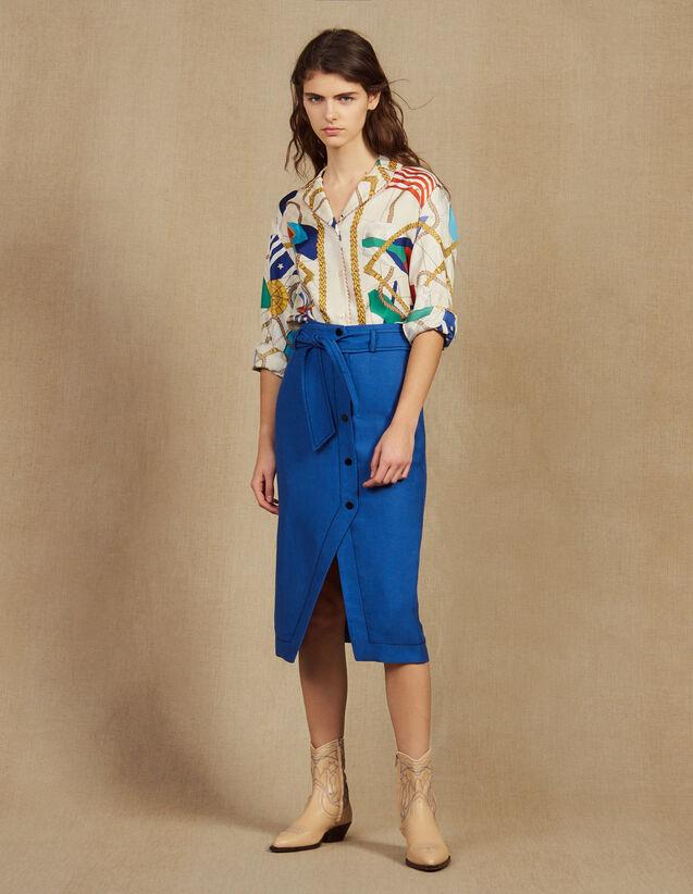 Belted Knee-Length Skirt : Skirts & Shorts color Blue