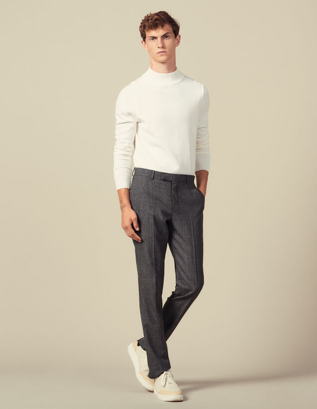 Marled wool suit trousers : Suits & Tuxedos color Mocked Grey