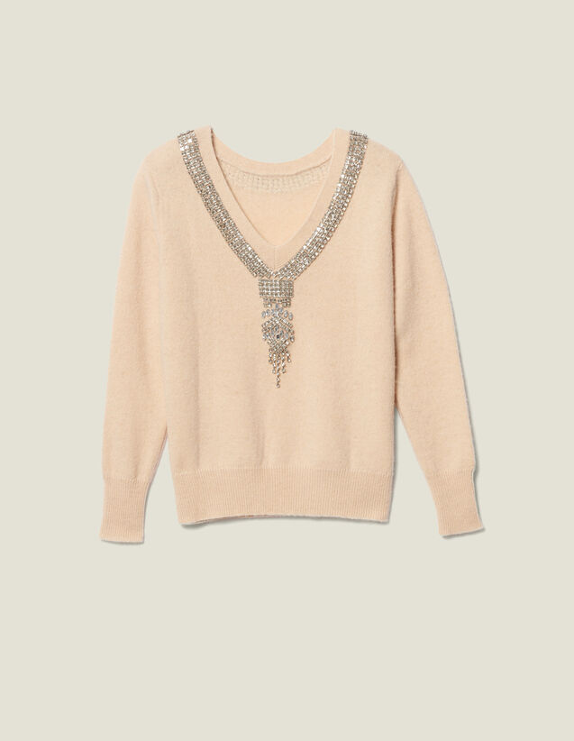 Sweater With Jewel Trimmed Neck by Sandro Paris