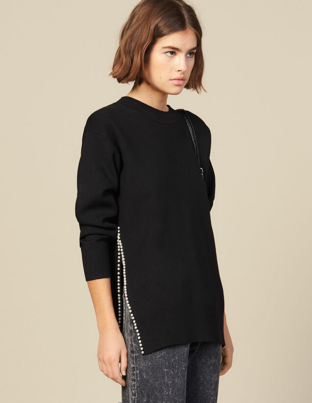 Bead-Embroidered Sweater With A Vent : New In color Beige