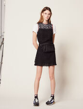 Sleeveless Guipure Dress : null color Black