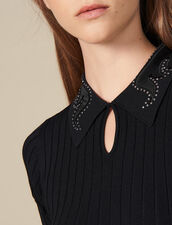 Polo Shirt With Jewelled Collar : LastChance-ES-F40 color Black