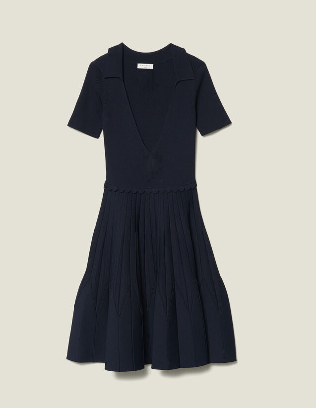 Knit Dress With Shirt Collar by Sandro Paris