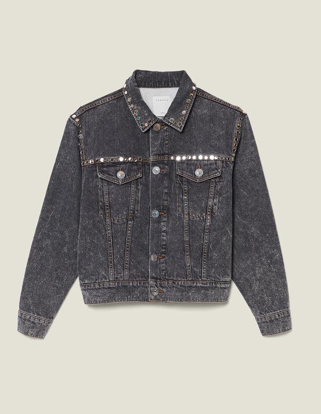 Snow washed denim jacket with studs : LastChance-ES-F50 color Black