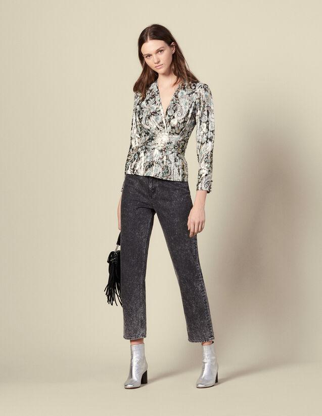Lurex jacquard top : Tops & Shirts color Multi-Color
