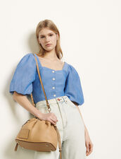 Puff-sleeved shirt : Tops & Shirts color Blue