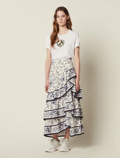 Long Printed Ruffled Skirt : FAnciennesCollections color Multi-Color