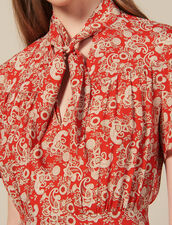 Short-Sleeved Printed Dress : New In color Red