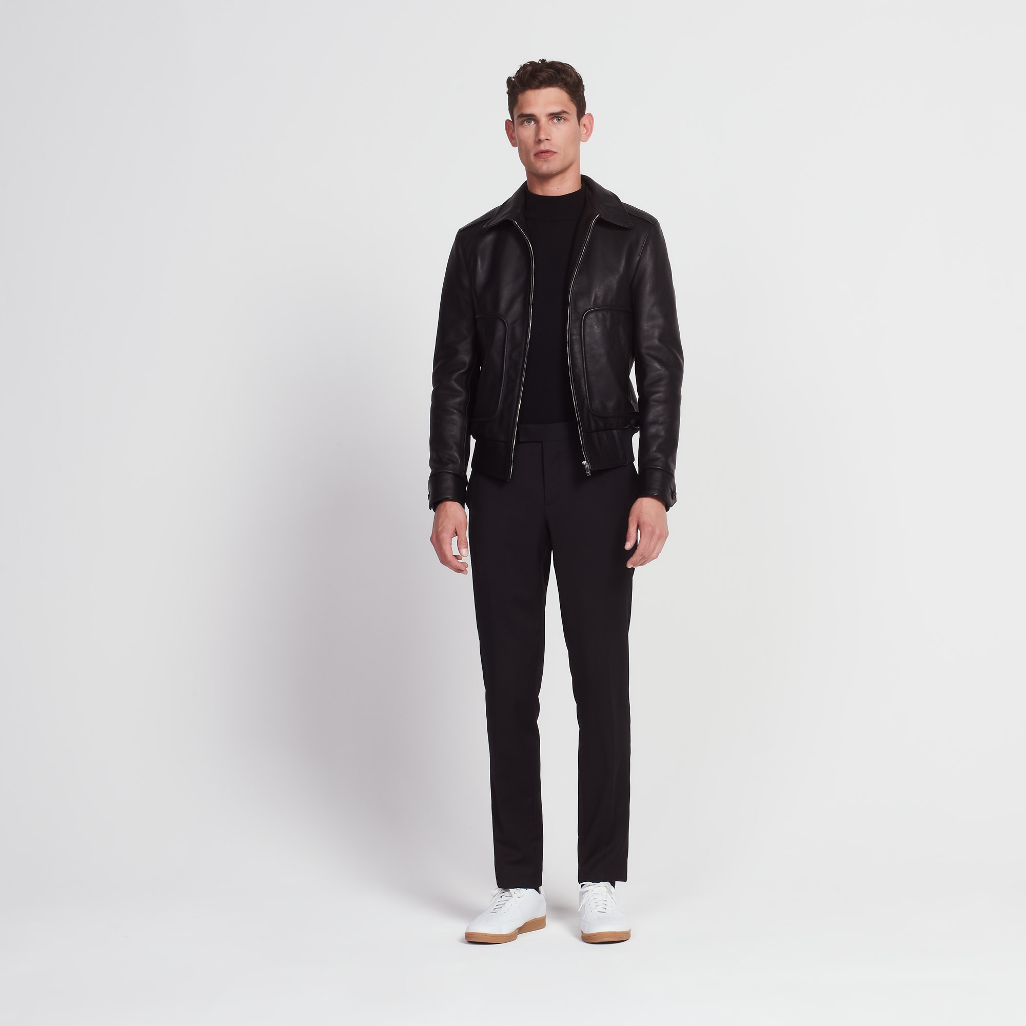 Leather jacket with shirt-style collar - Blazers & Jackets ...