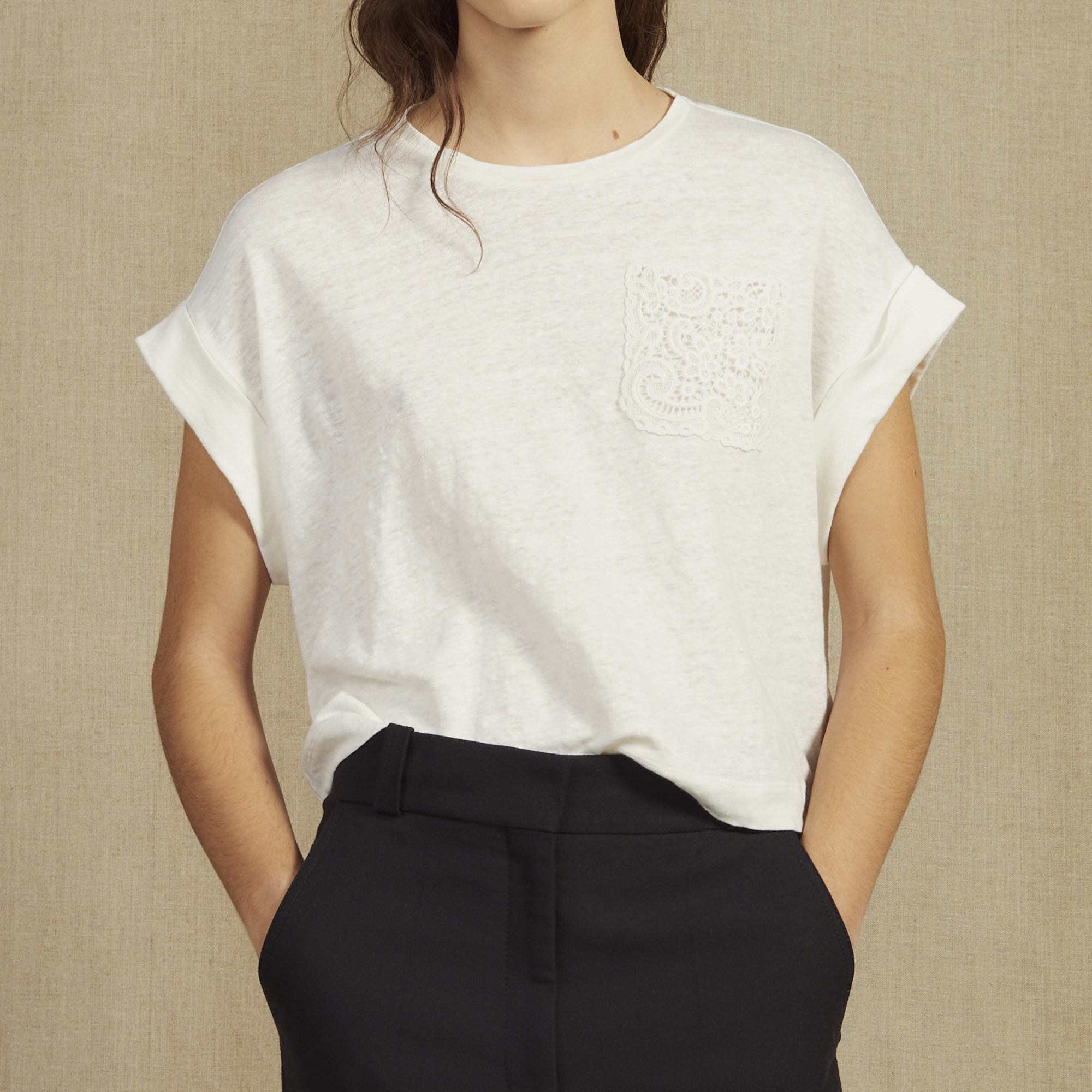 743fc811 Cropped Linen T-Shirt : T-shirts color Ecru ...