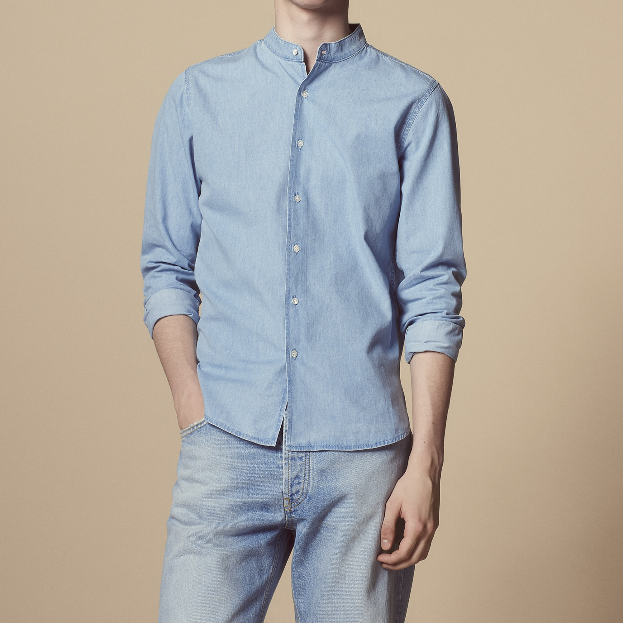529f49297b1 Chambray shirt with mandarin collar   null color Light Blue ...