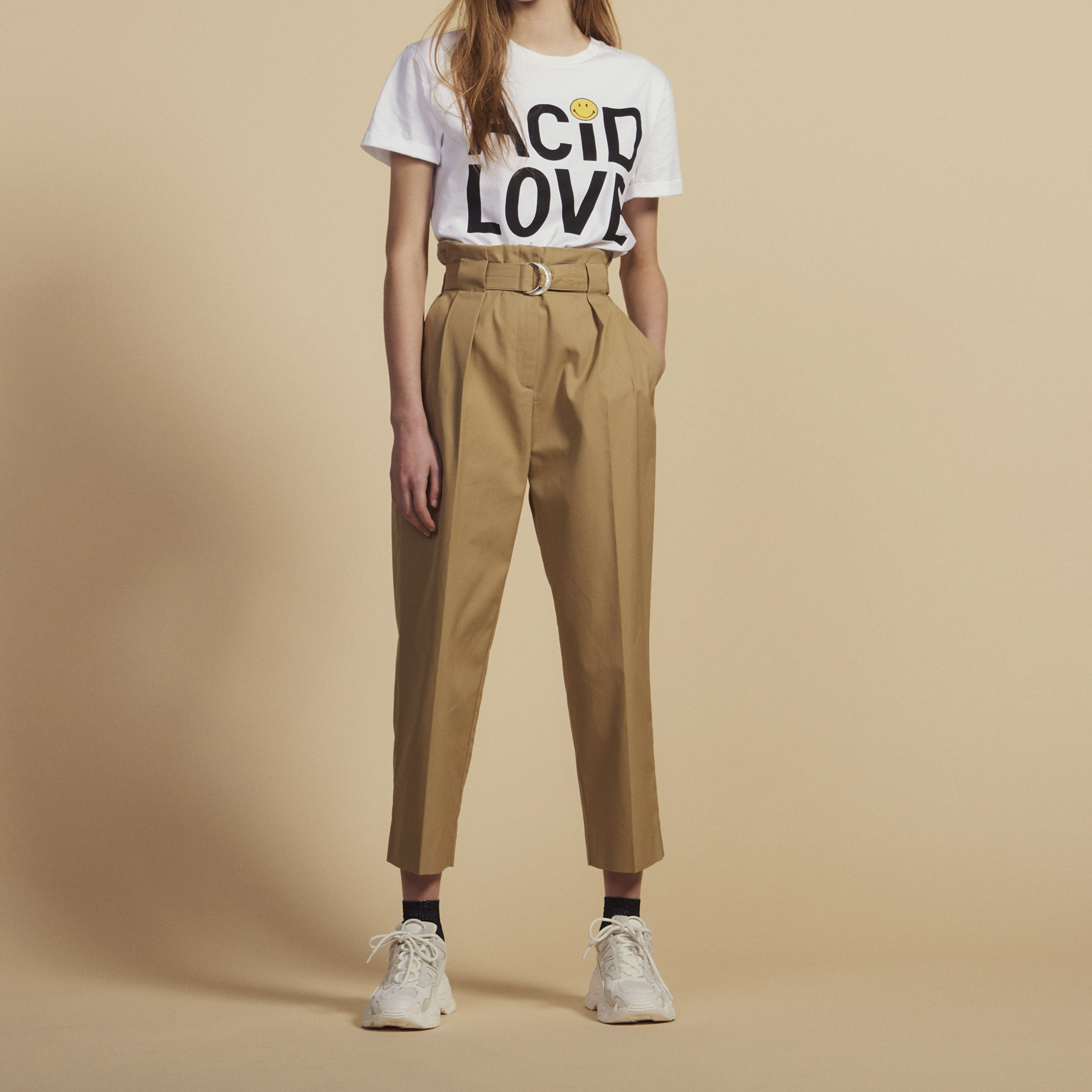 b800ee49e43ff9 Belted High-Waisted Trousers : Pants color Beige ...
