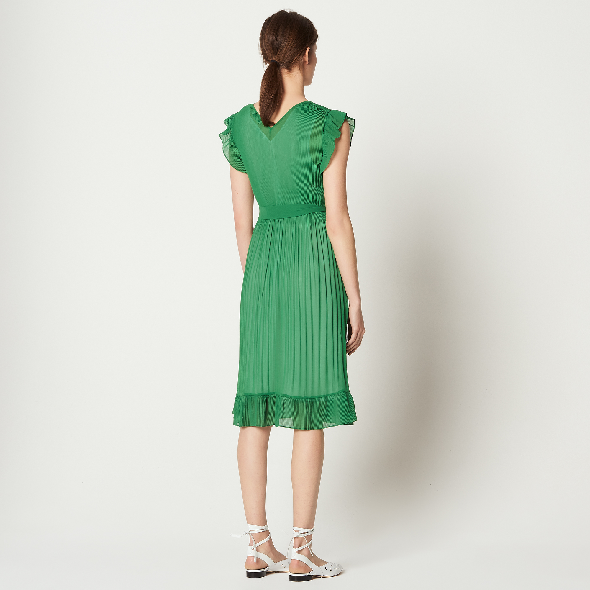 468cbf76264a ... Ruffled dress with belt   All Ready-to-wear color Green Grass ...