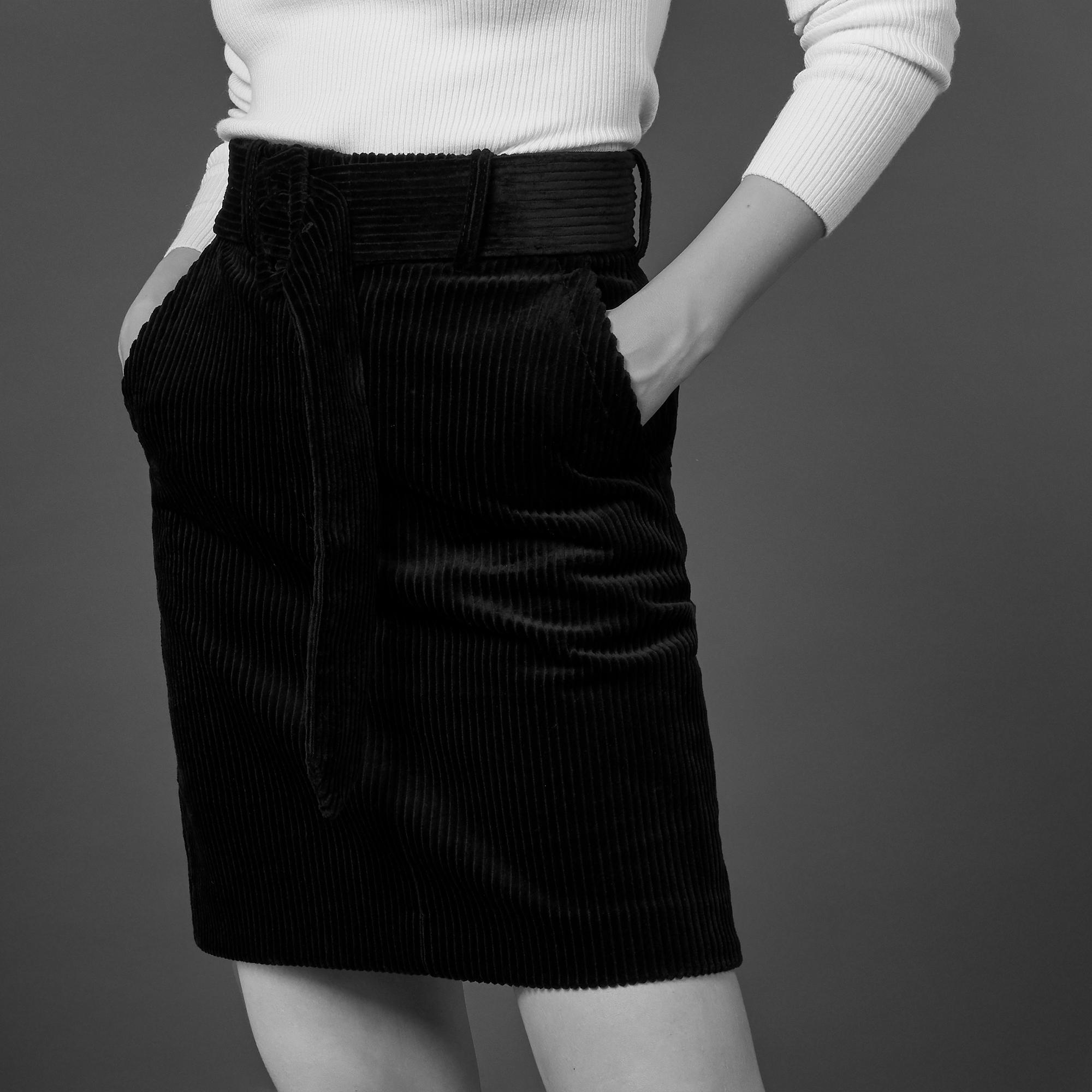 031b31abbd Short corduroy skirt with belt