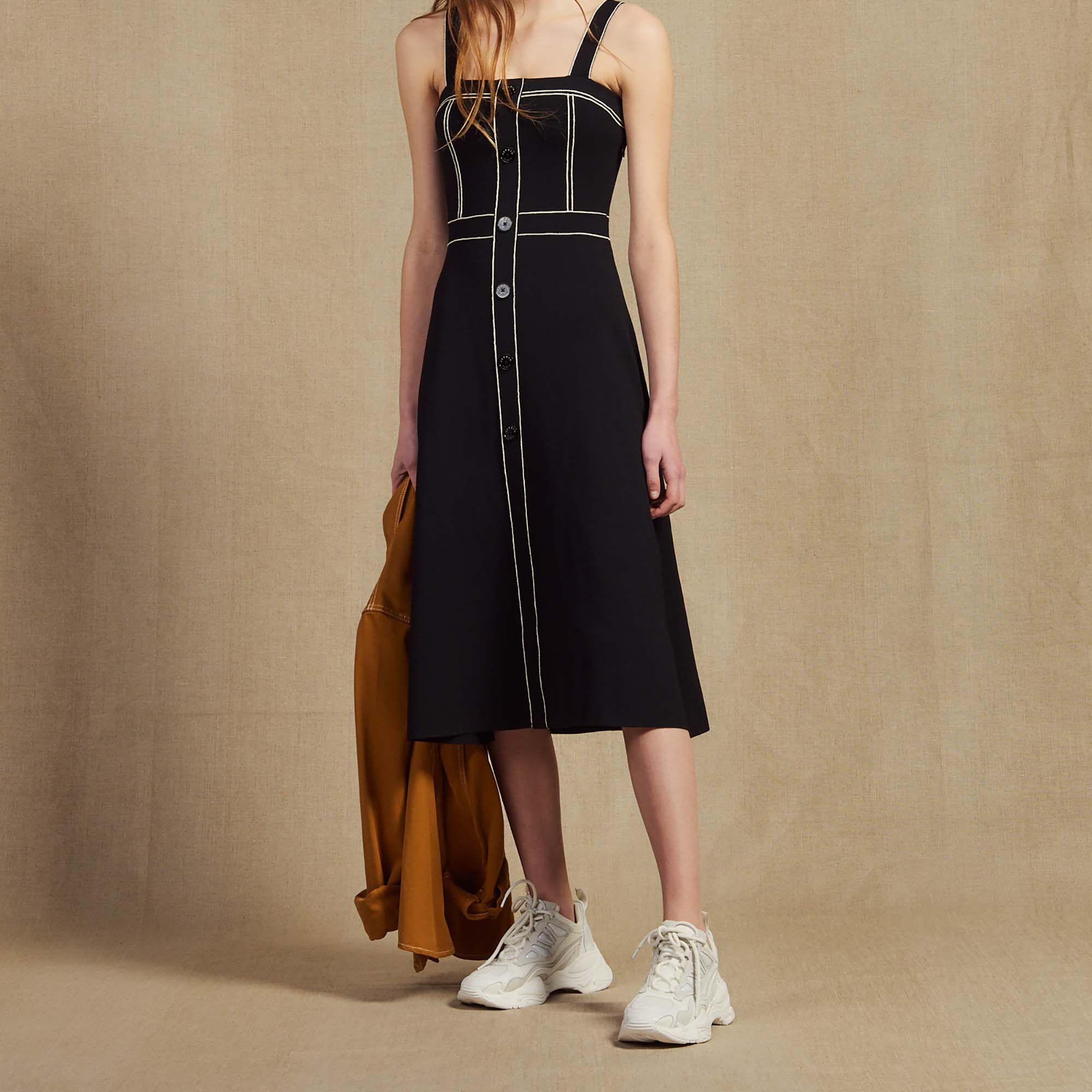 9307f547c95193 Knitted Midi Dress With Straps : Dresses color Black ...