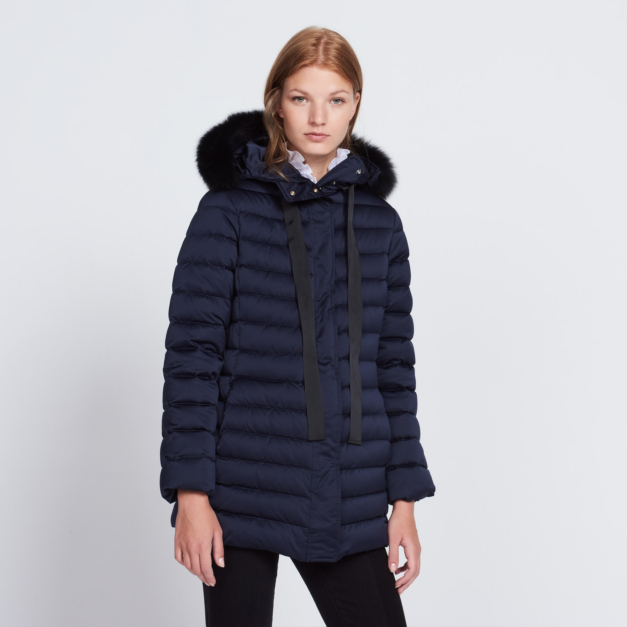 Long quilted padded jacket with hood - Coats - Sandro-paris.com : quilted padded coat - Adamdwight.com