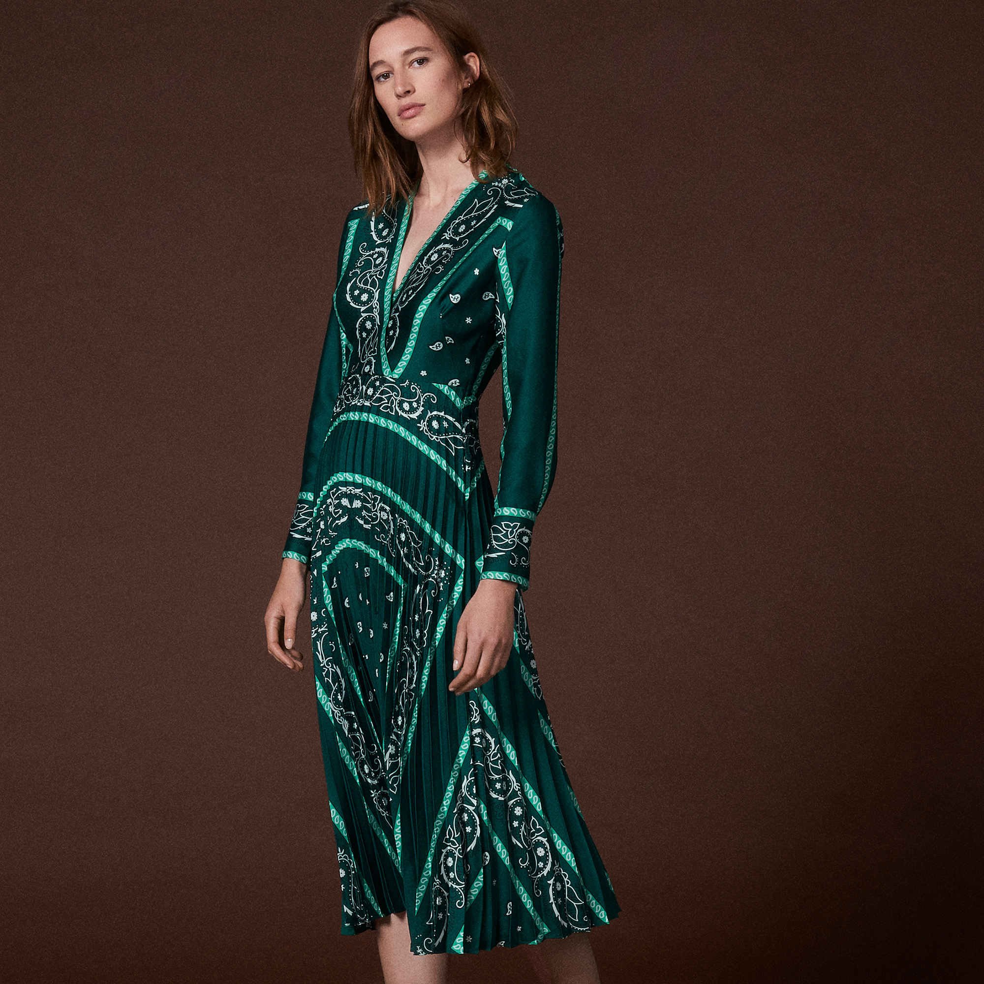 Long dress with scarf prints   Dresses color Green ... 7c603eeec