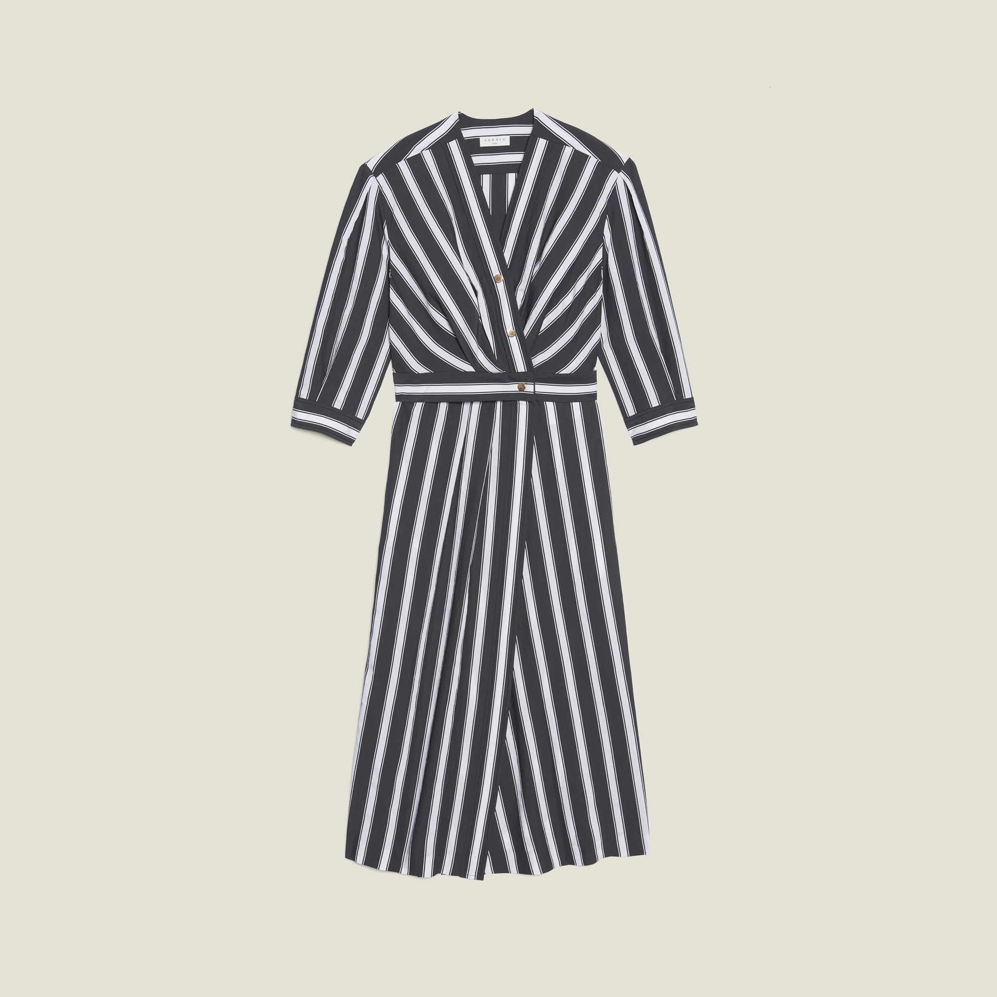 aa26772fff9 ... Midi Dress With Contrasting Stripes   Dresses color Black