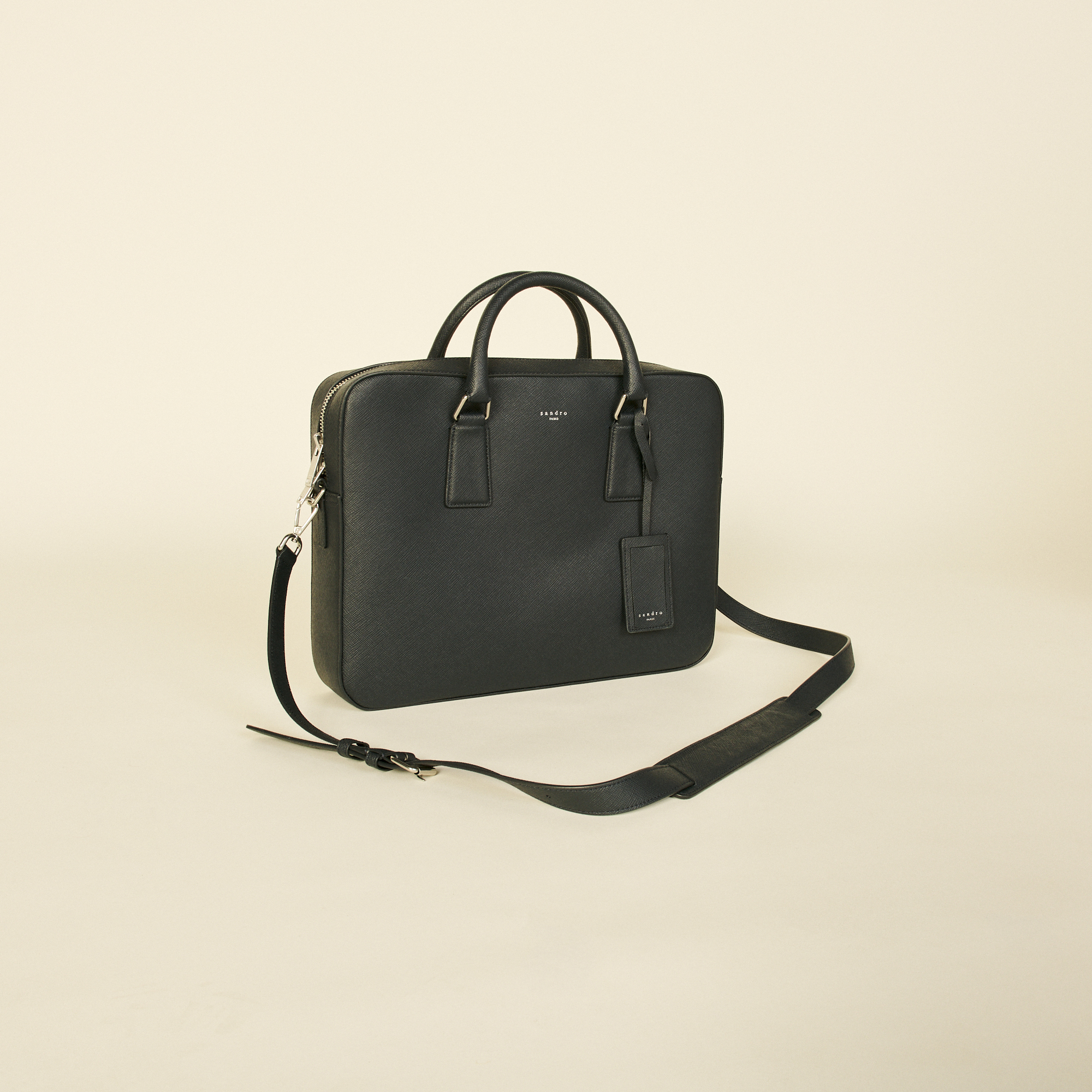 Saffiano leather briefcase - Sandro - Modalova