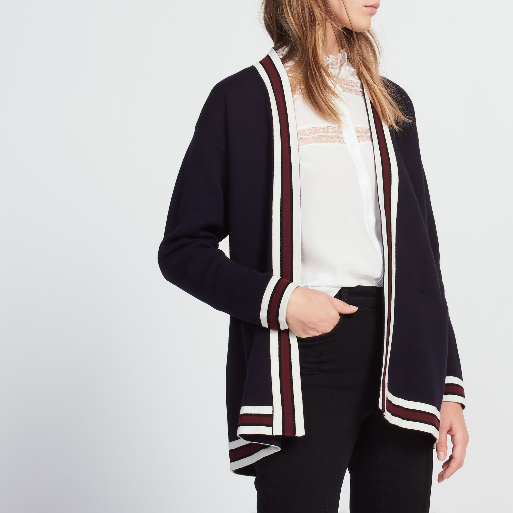 Long cardigan with contrasting bands - Sweaters & Cardigans ...