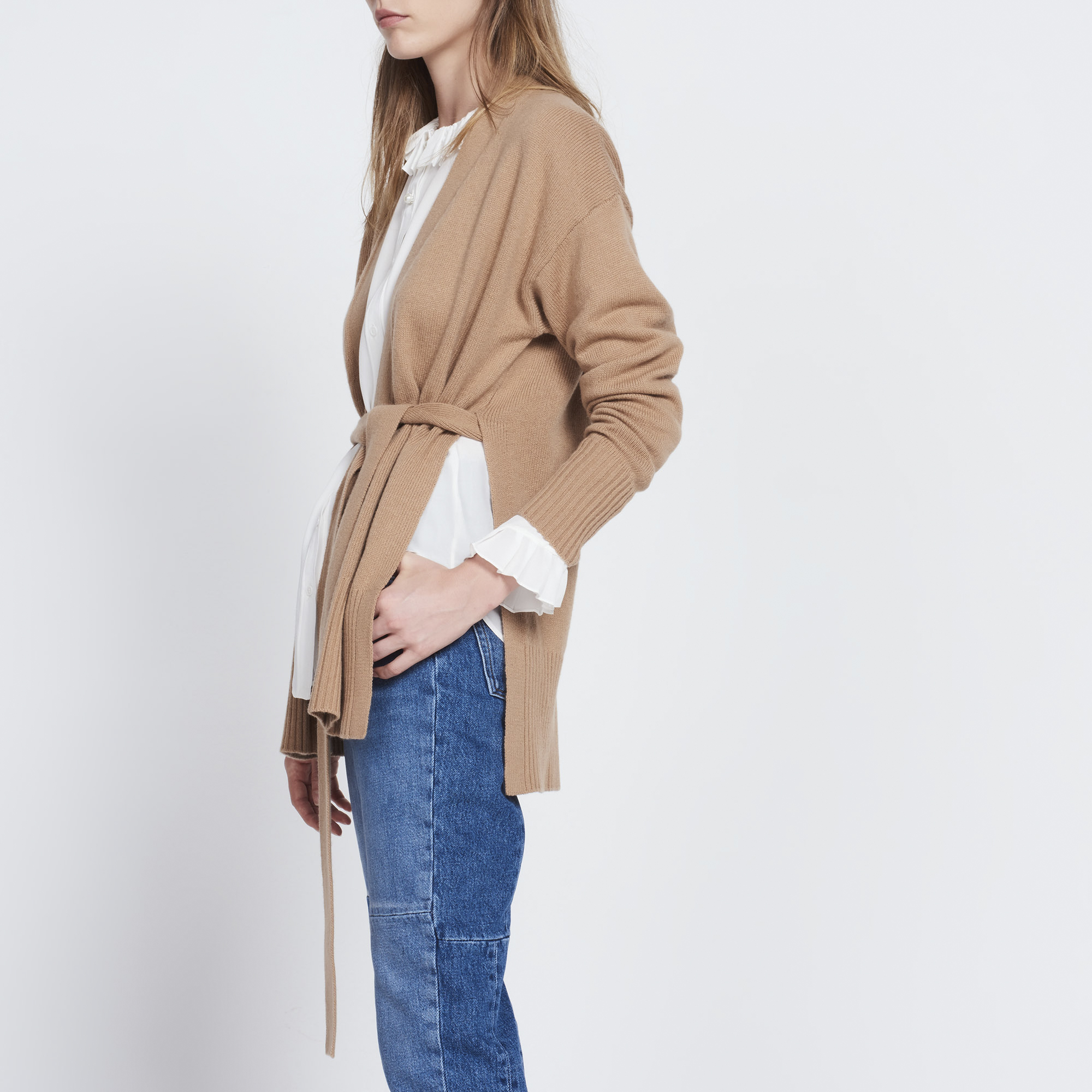 Slit wool and cashmere cardigan - Sweaters & Cardigans - Sandro ...