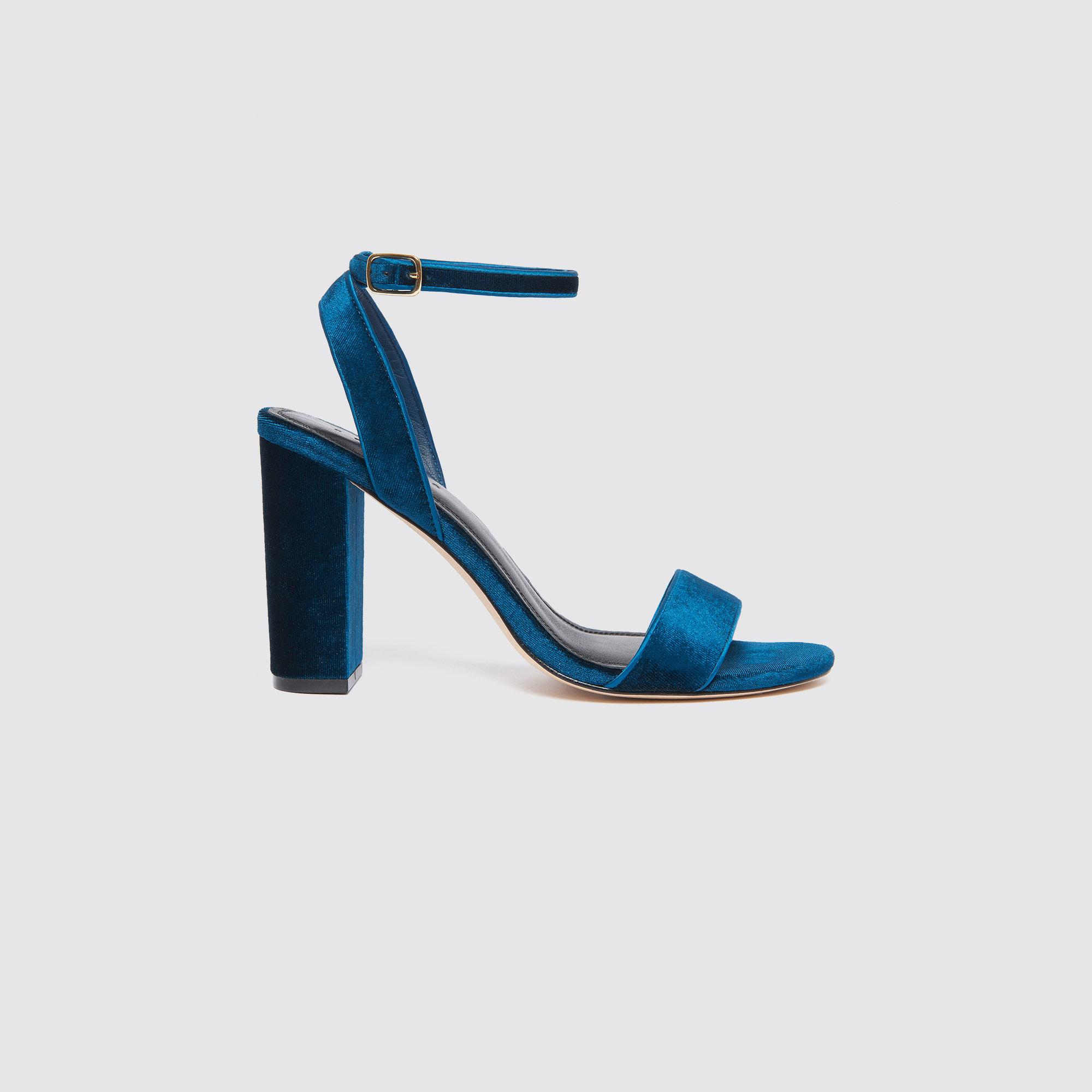 d70af7f12f3313 Velvet heeled sandals   Sandals color Turquoise ...